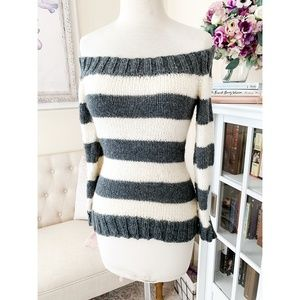 Hand Knit Gray Stripe Off The Shoulder Sweater S